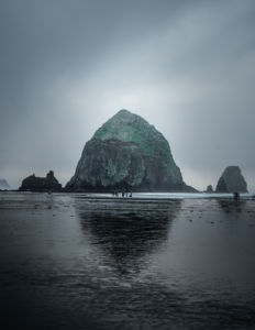 Rainy long exposure of Haystack rock at Cannon Beach Oregon