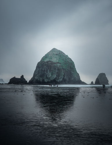 Rainy long exposure of Haystack rock at Cannon Beach Oregon