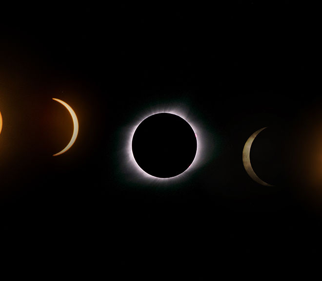 Photomerge of the 2017 total eclipse, taken in stages before, during, and after, located in north missouri.