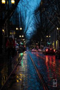 Rainy night in downtown Portland