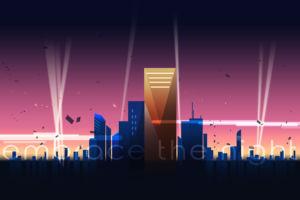 Illustration of cyber punk city
