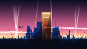 Digital illustration of a city scape