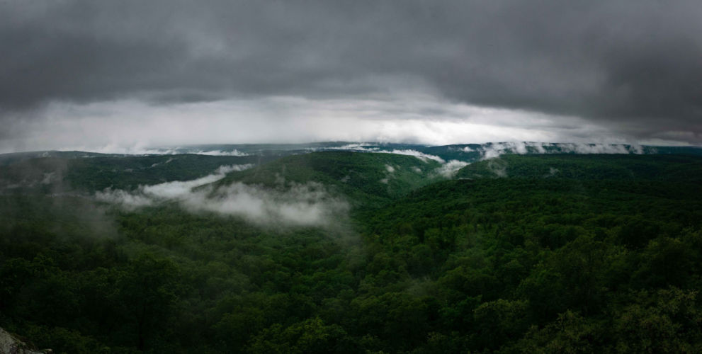 White clouds caress the Arkansas Landscape under White Rock Mountain