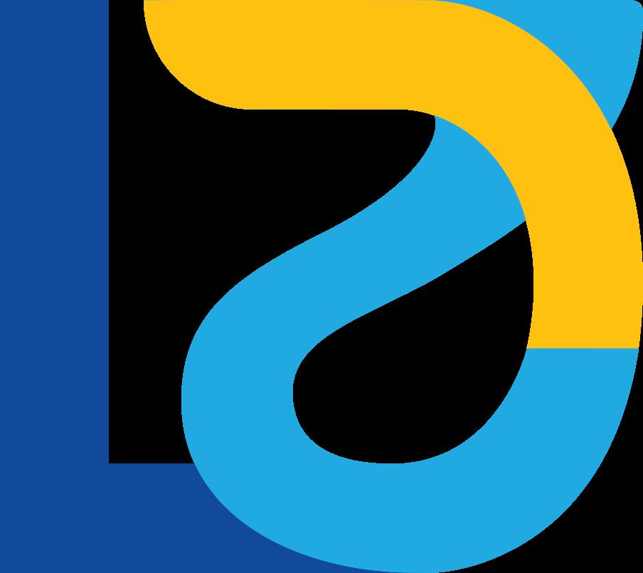 L 2 D Blue cyan and mustard logo