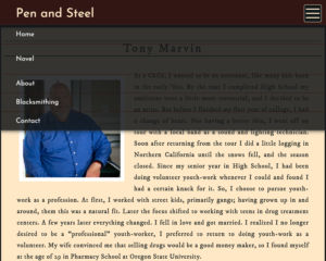 Pen and Steel Website about page screenshot showing a dropdown menu