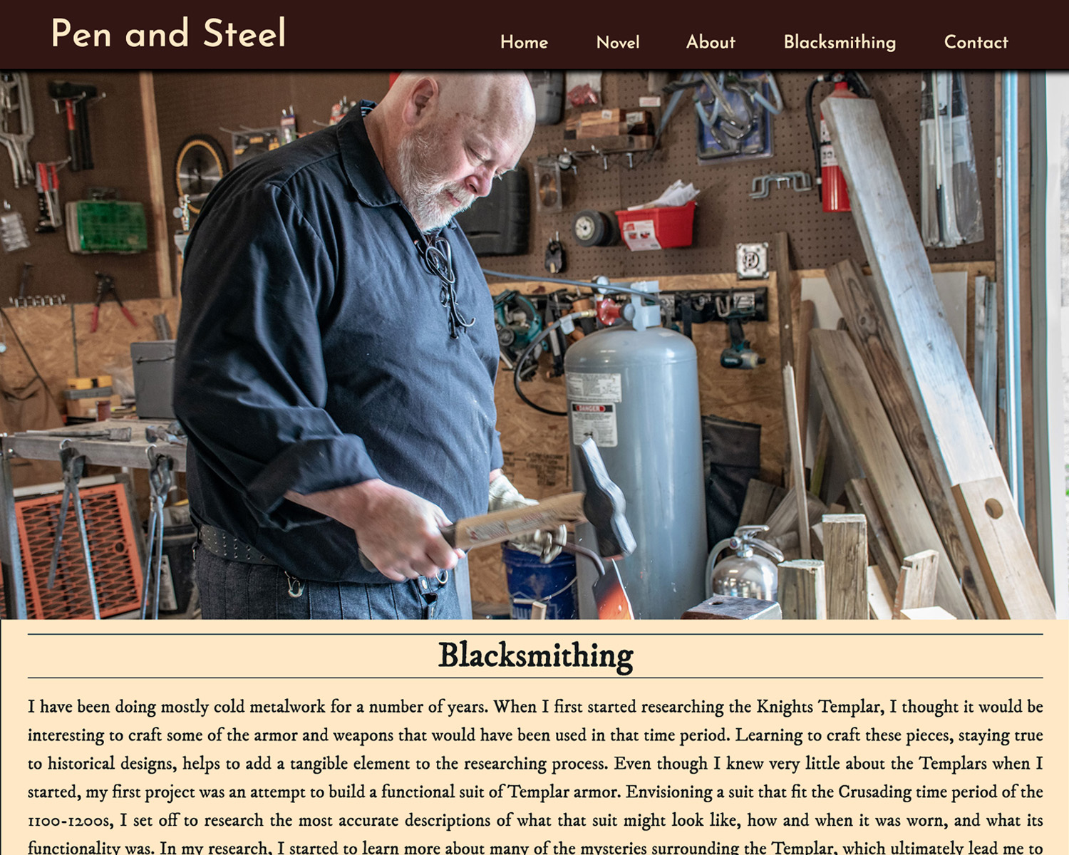 Pen and Steel blacksmith page screenshot