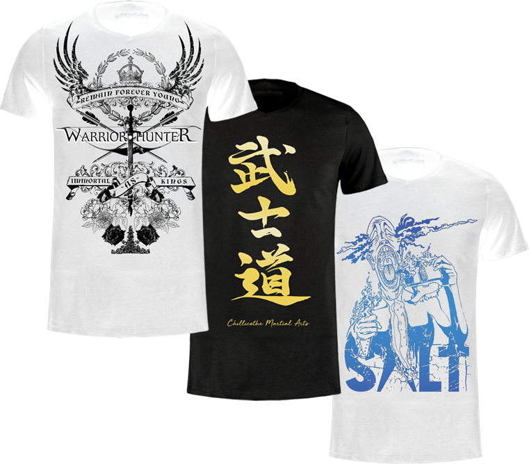 3 tshirt designs stack atop of each other.