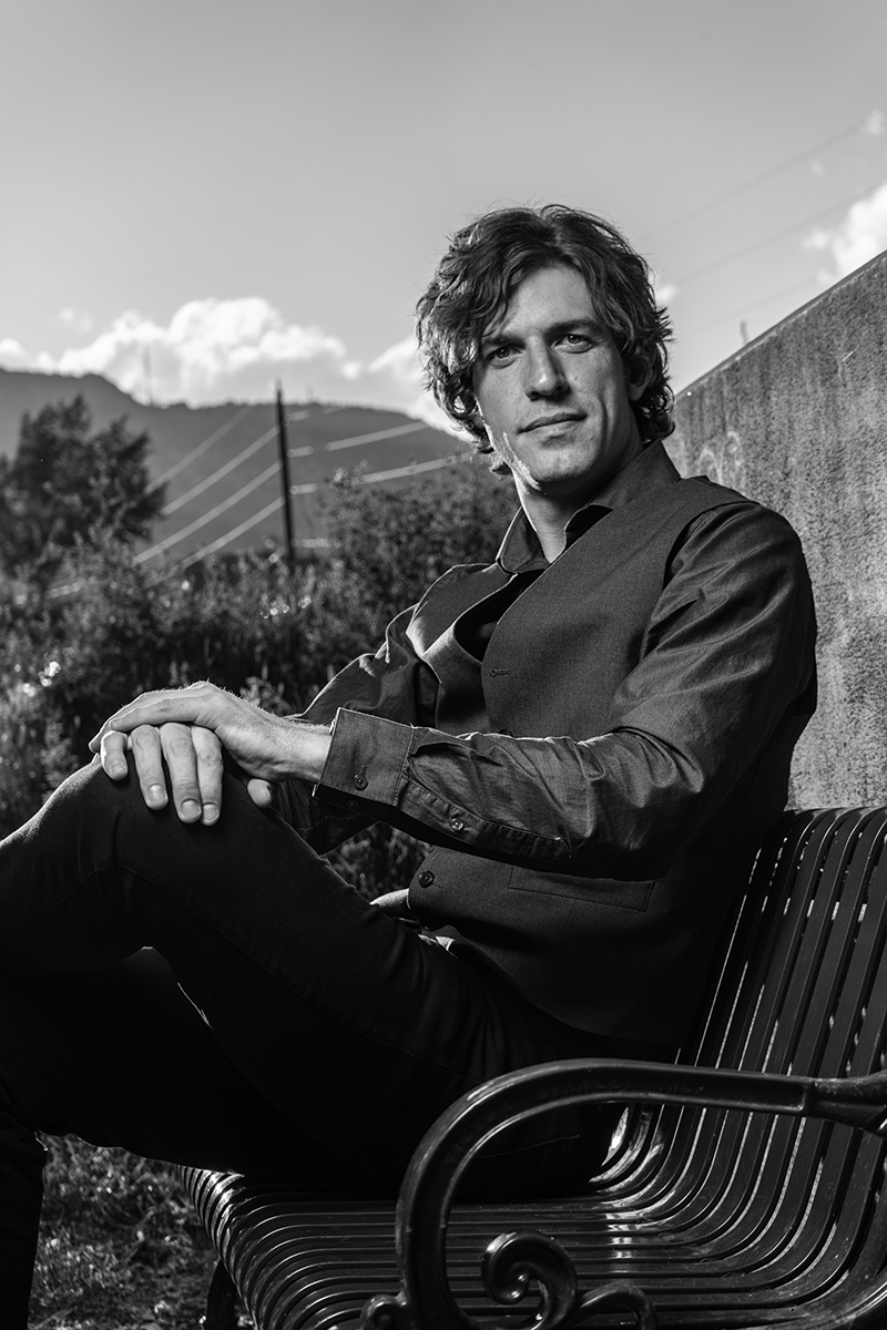 Leif Derrickson sitting on a bench in Morrison Colorado