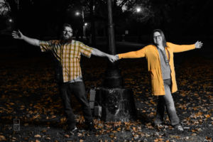 Dave and Bethany Strieff dancing near a park lamp at night