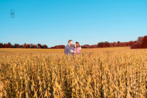 Dave and Bethany Strieff in a soy bean field