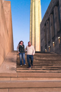 Dave and Bethany Strieff quickly run down stone stairs